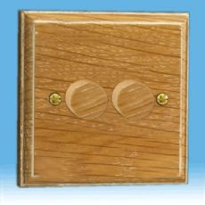 Varilight Kilnwood V-Pro 2-Gang 2-Way Push-On/Off Rotary LED Dimmer 2 x 0-100W (1-10 LEDs) Limed Oak